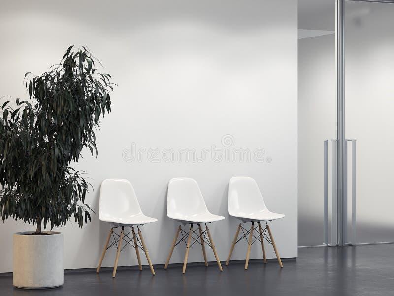 Limpe o interior brilhante com a fileira de cadeiras rendição 3d ilustração royalty free