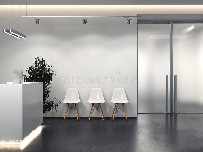 Limpe o interior com a recepção e a fileira de cadeiras rendição 3d ilustração stock