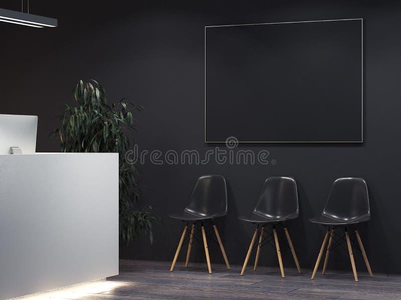 Limpe o interior escuro com a recepção e a fileira de cadeiras rendição 3d ilustração stock