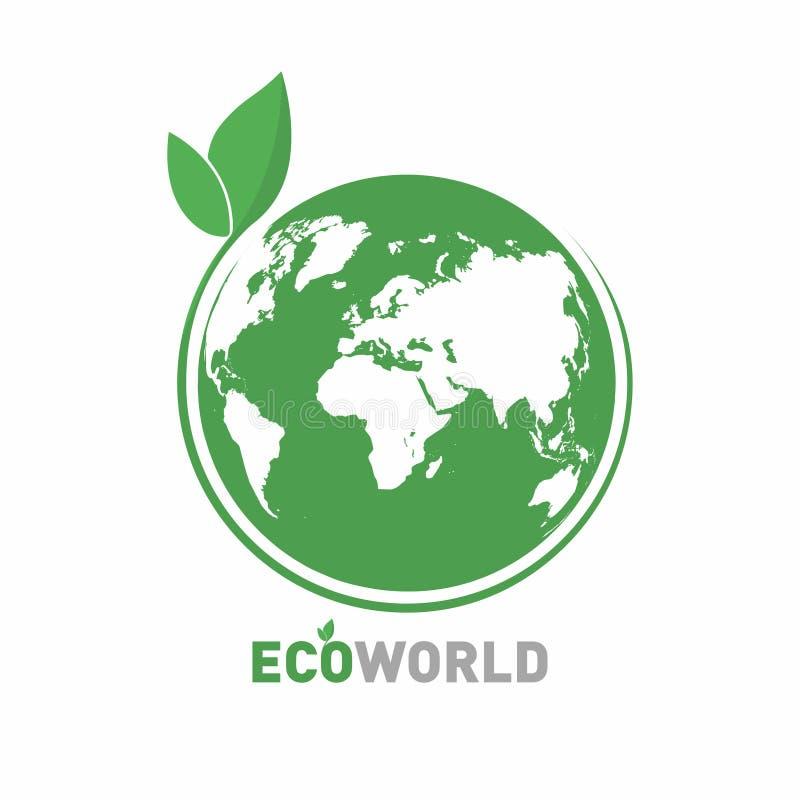 Limpe o mundo verde Símbolo do mundo de Eco, ícone Conceito amigável de Eco para o logotipo da empresa ilustração royalty free