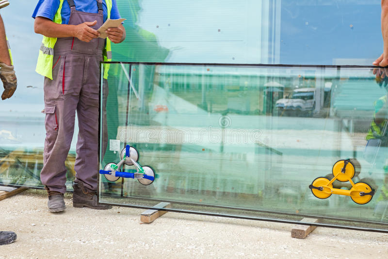 Limpe o pedágio unido ao vidro thermo dobro imagens de stock