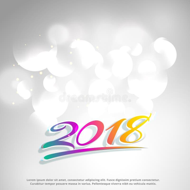 Limpe o texto 2018 colorido no fundo branco ilustração royalty free