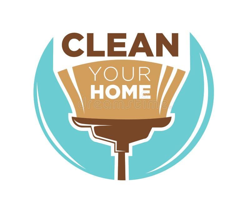 Limpe seu projeto home do logotype com a vassoura isolada no azul ilustração royalty free