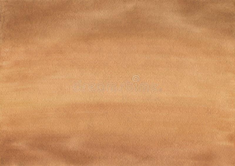 Limpe a textura marrom do papel de fundo da aquarela ilustração stock