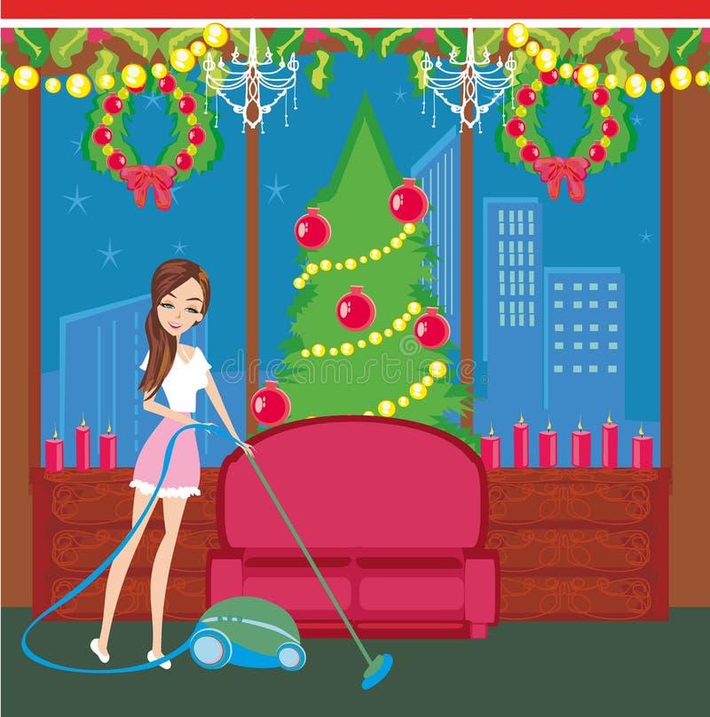 Limpeza antes do Natal ilustração stock