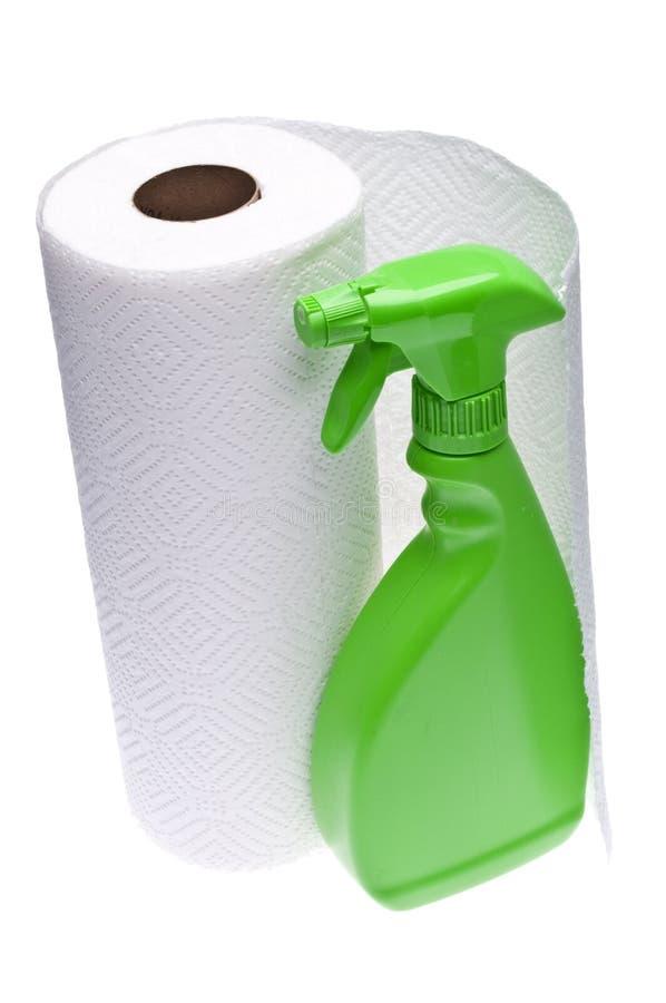 Limpeza com as toalhas de papel imagens de stock royalty free