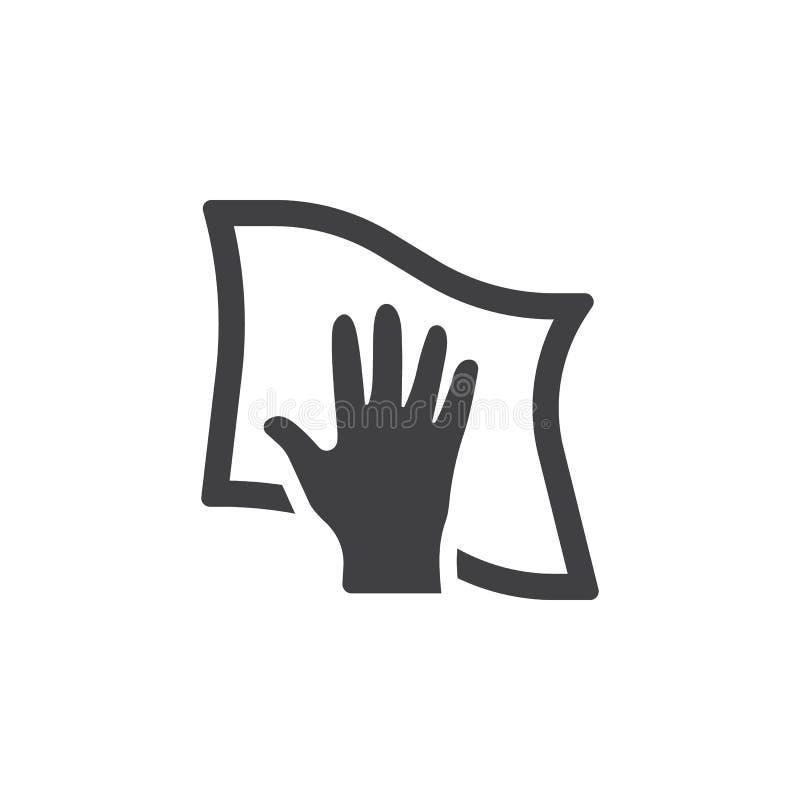 Limpeza com o ícone de pano ilustração stock