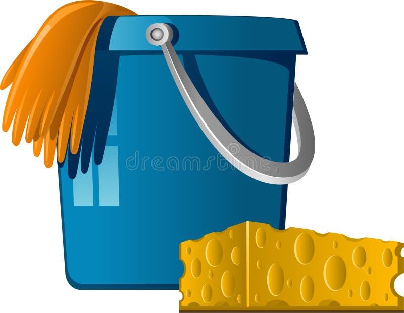 Limpeza: cubetas, luvas de borracha e esponja ilustração royalty free