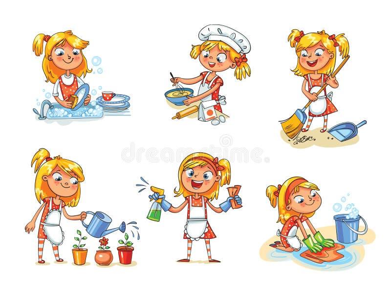 Limpeza da casa A menina é ocupada em casa Personagem de banda desenhada engraçado ilustração royalty free