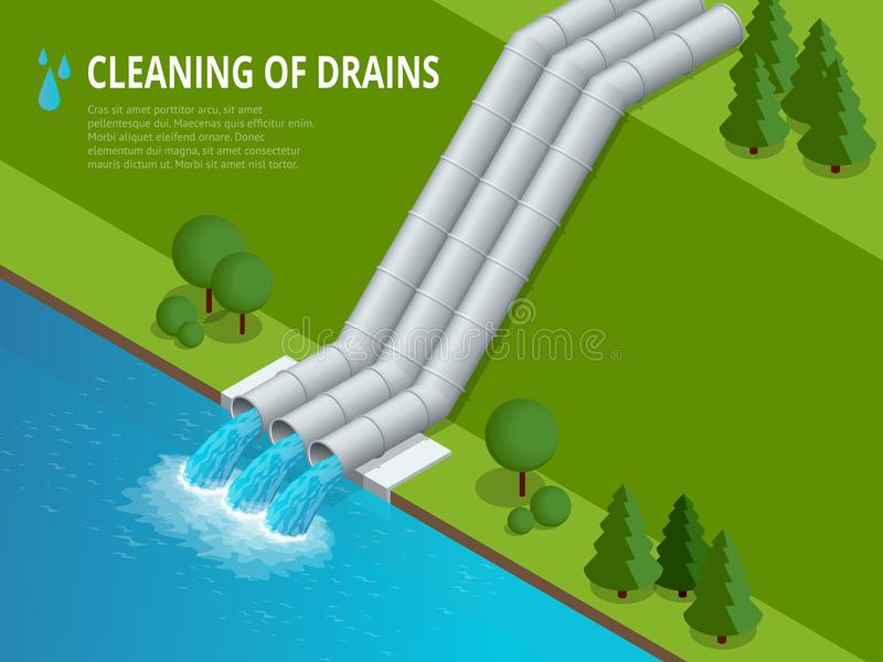 Limpeza da limpeza dos drenos da descarga dos drenos do desperdício líquido do produto químico ilustração royalty free