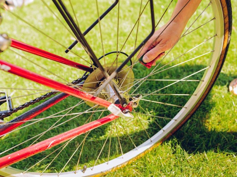 Limpeza da primavera da bicicleta fotografia de stock