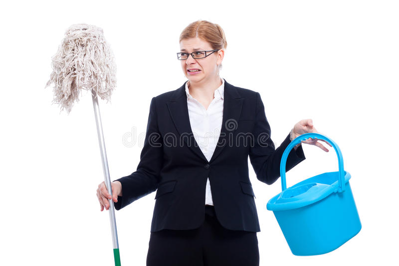 Limpeza disgusted infeliz da mulher de negócios imagem de stock