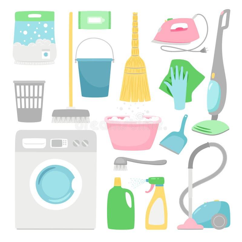 Limpeza do agregado familiar Inventário limpo da casa isolado no fundo branco, ilustração de lavagem doméstica do vetor das fonte ilustração stock