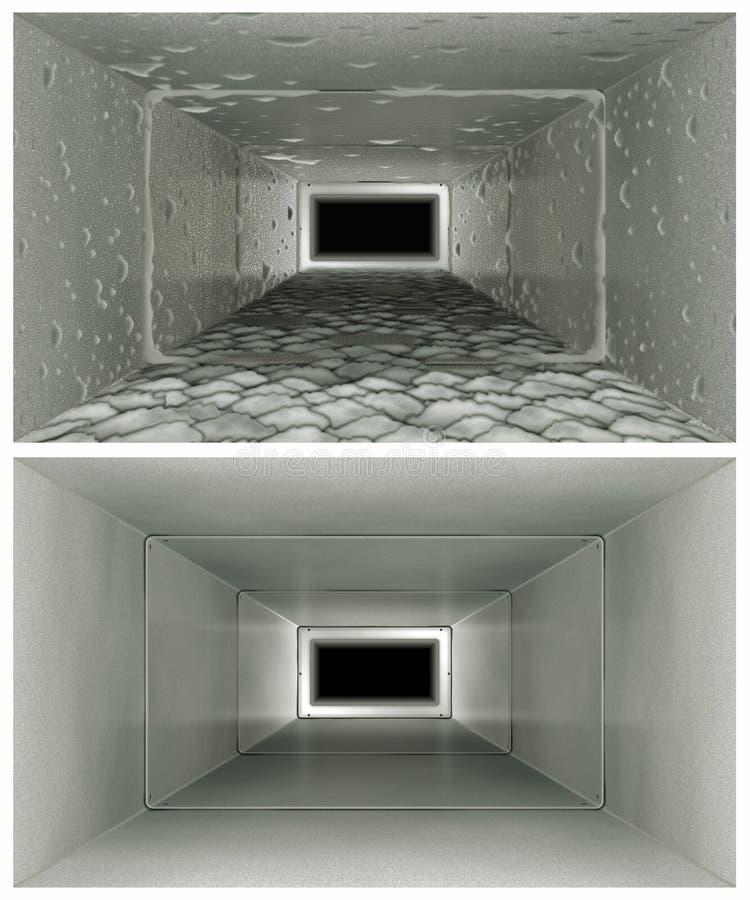Limpeza do duto de ar antes & em seguida ilustração stock
