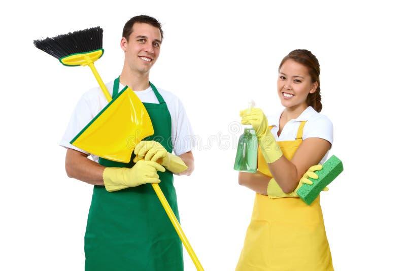 Limpeza do homem e da mulher foto de stock royalty free