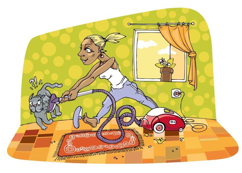 A limpeza do quarto ilustração royalty free