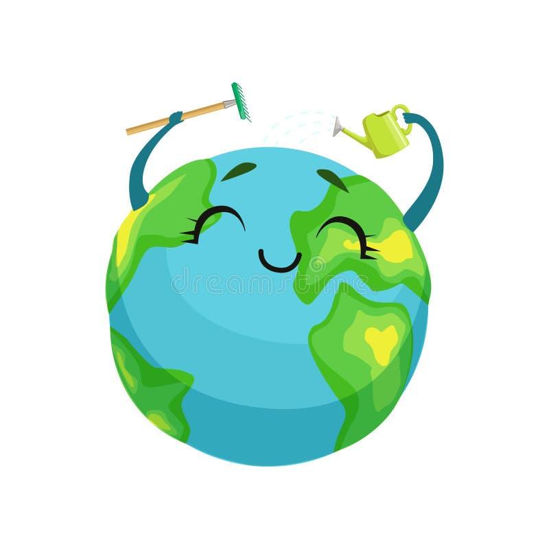 Limpeza feliz própria do caráter do planeta da terra com ancinho e lata molhando, globo bonito com cara do smiley e vetor das mão ilustração royalty free