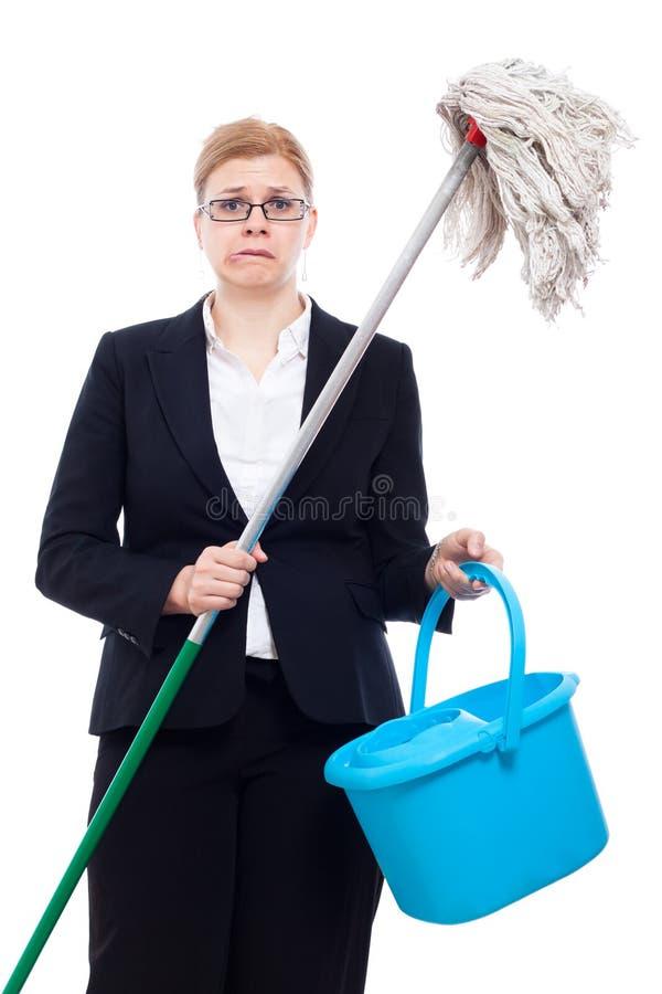 Limpeza infeliz da mulher de negócios fotografia de stock royalty free