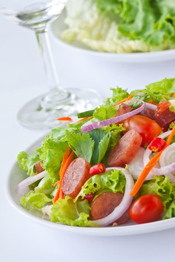 Limpeza picante-ácida da salada tailandesa da salsicha imagem de stock royalty free