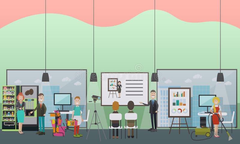 A limpeza profissional do escritório presta serviços de manutenção à ilustração lisa do vetor ilustração do vetor