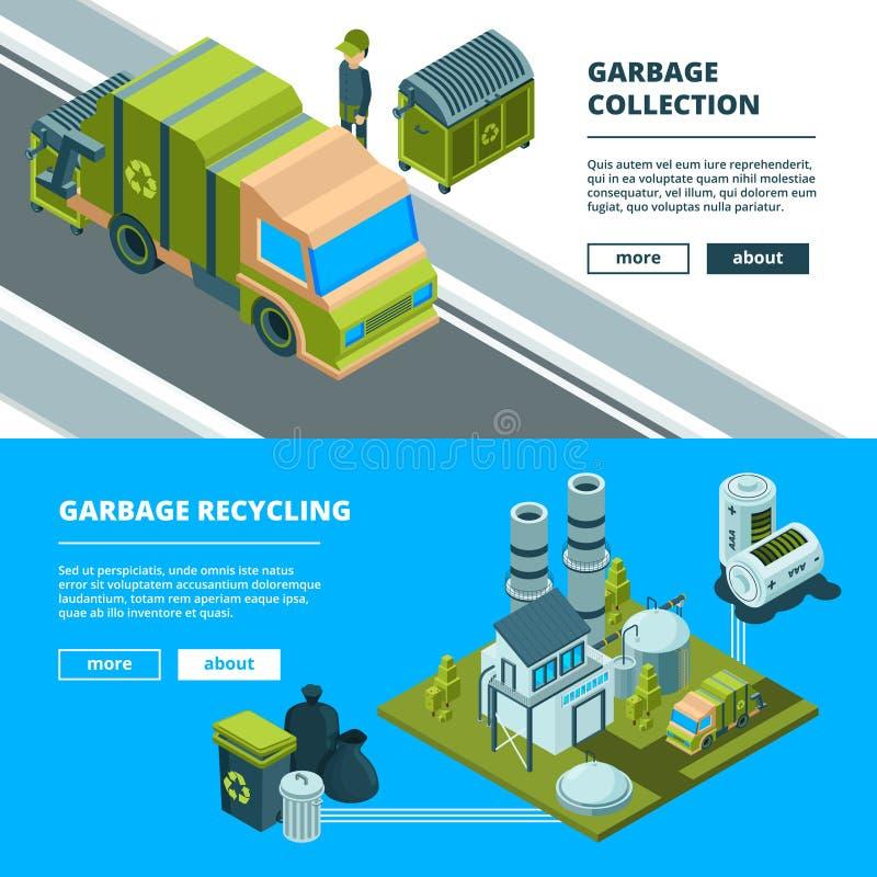 Limpeza reciclando bandeiras do desperdício Classificando o lixo e limpando o conceito do vetor do caminhão do incinerador do lix ilustração do vetor