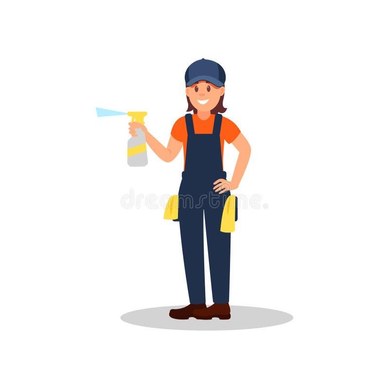 Limpiador de la mujer con la botella del espray de líquido y de trapos de la limpieza Muchacha sonriente joven en uniforme de tra ilustración del vector