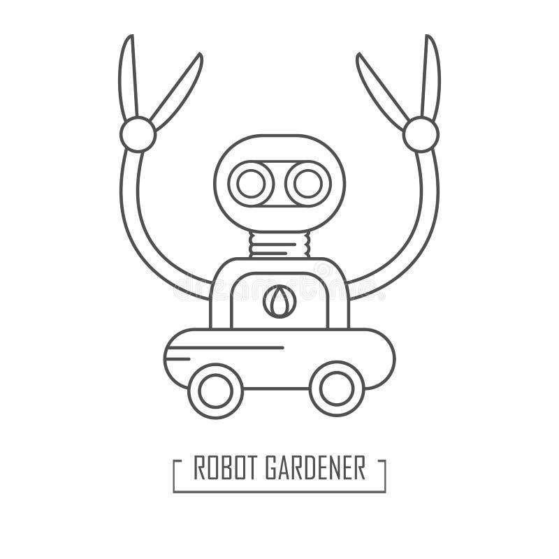 Limpiador del jardín del robot Ejemplo del vector en estilo del outine libre illustration