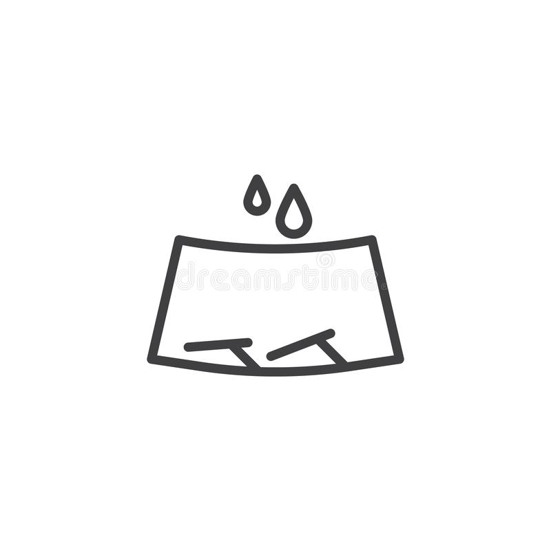 Limpiadores de parabrisas y línea icono de gotas de lluvia libre illustration