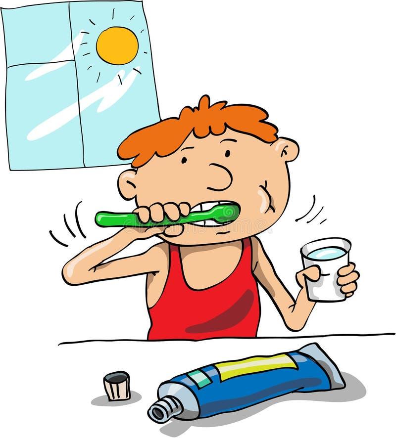 Limpiamos los dientes stock de ilustración