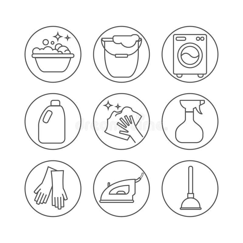 Limpiando, línea iconos del lavado La lavadora, la esponja, la fregona, el hierro, el aspirador, la pala y el otro icono clining  ilustración del vector