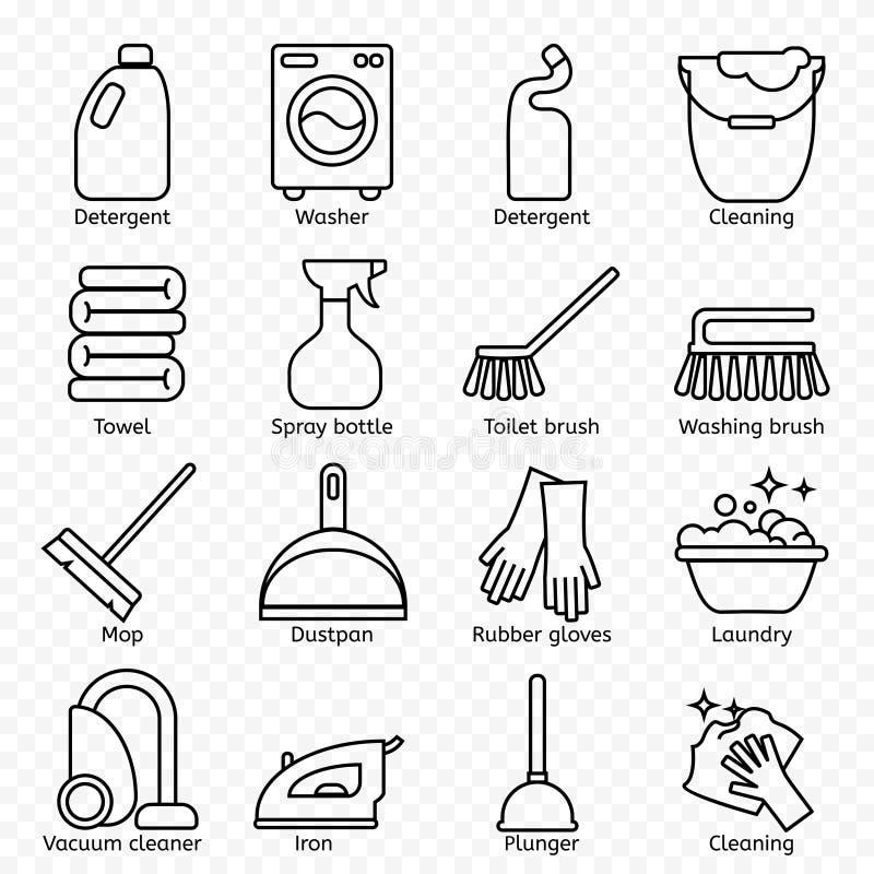 Limpiando, línea iconos del lavado La lavadora, la esponja, la fregona, el hierro, el aspirador, la pala y el otro icono clining  stock de ilustración