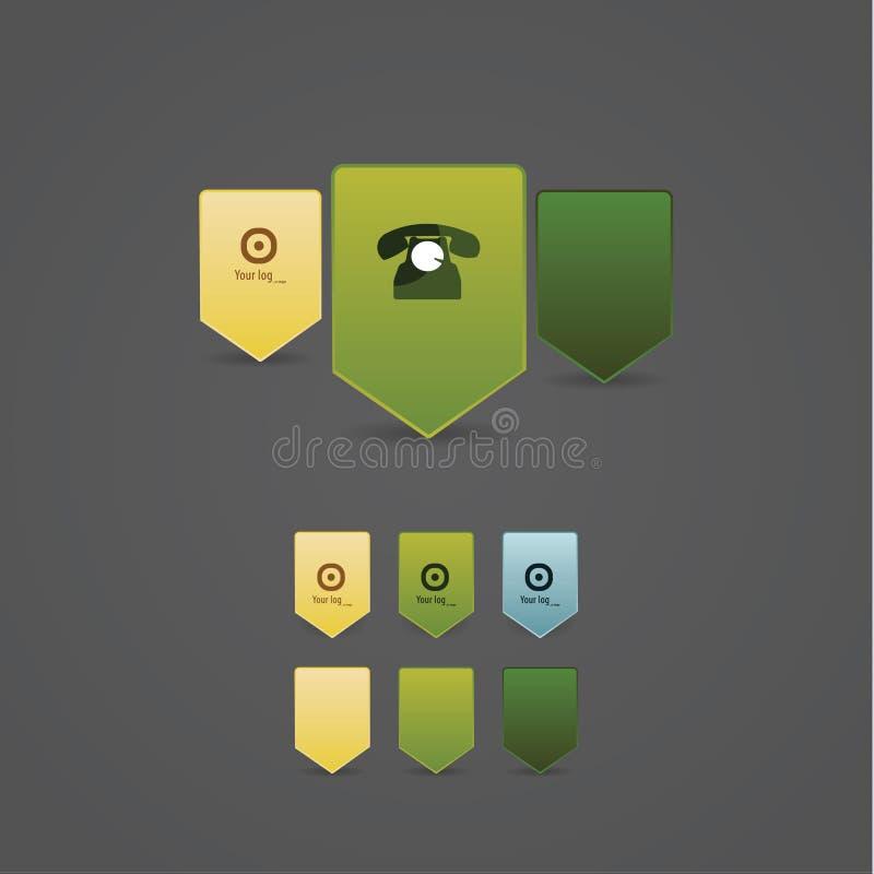 Limpie colorido los indicadores. Vector los pernos con el espacio para su icono. libre illustration