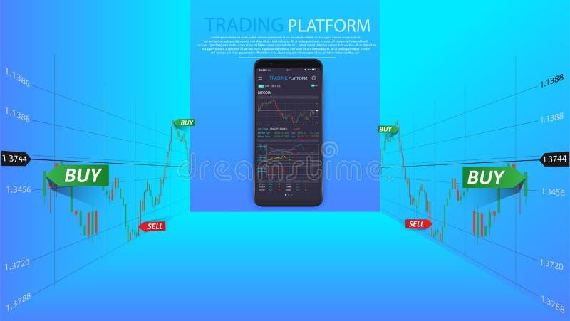 Limpie el concepto de diseño móvil de UI Actividades bancarias móviles de moda Tecnología de Cryptocurrency Intercambio de Bitcoi libre illustration