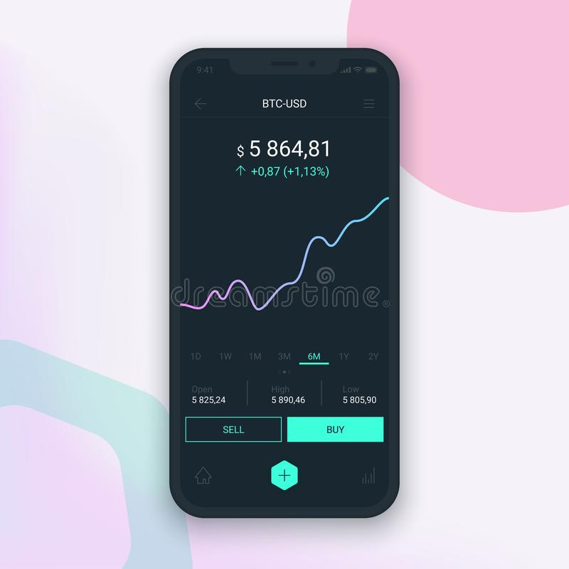 Limpie el concepto de diseño móvil de UI Actividades bancarias móviles de moda Tecnología de Cryptocurrency Intercambio de Bitcoi ilustración del vector