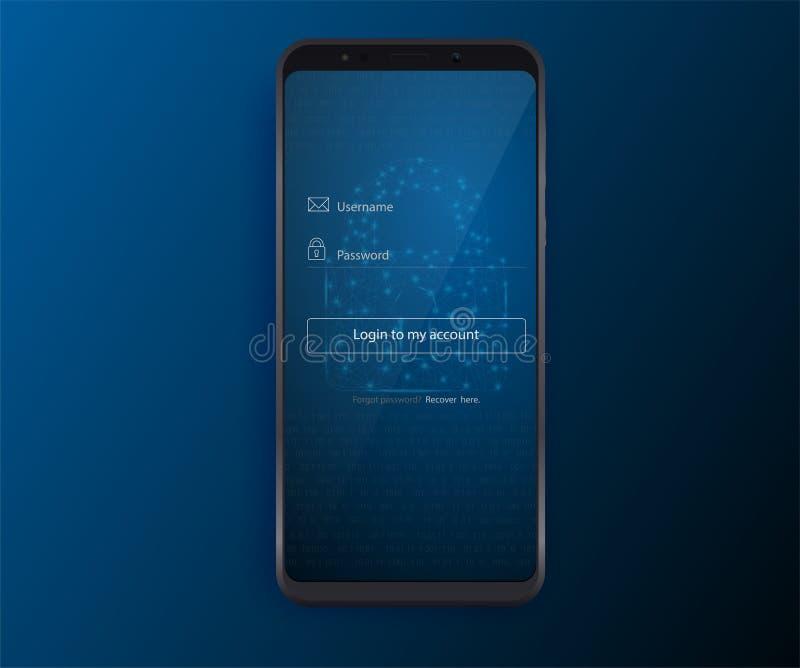 Limpie el concepto de diseño móvil de UI Uso del inicio de sesión con la ventana de la forma de la contraseña Iconos planos del w libre illustration