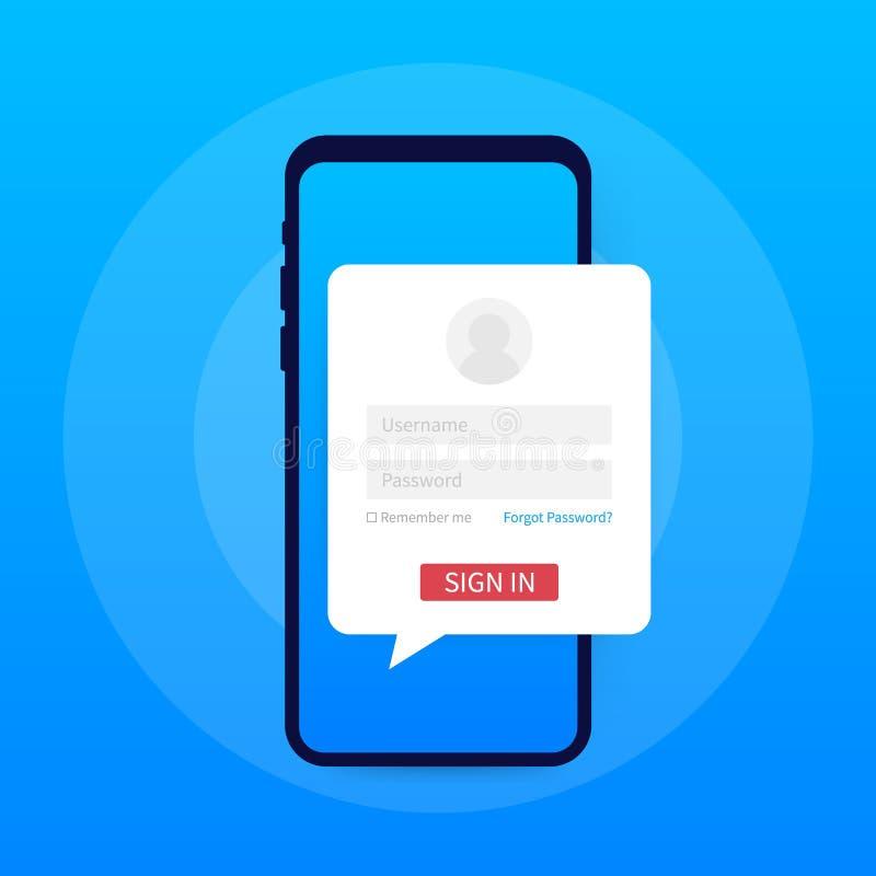 Limpie el concepto de diseño móvil de UI Uso del inicio de sesión con la ventana de la forma de la contraseña Ilustración del vec libre illustration