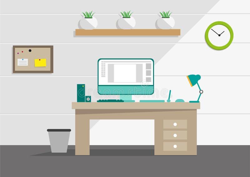Limpie el concepto interior de la oficina con las herramientas del ordenador y del hogar Clip art Editable ilustración del vector