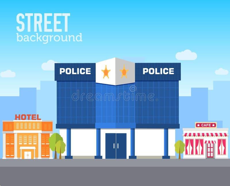 Limpie el edificio en espacio de la ciudad con el camino en concepto plano del fondo del estilo Diseño del ejemplo del vector stock de ilustración