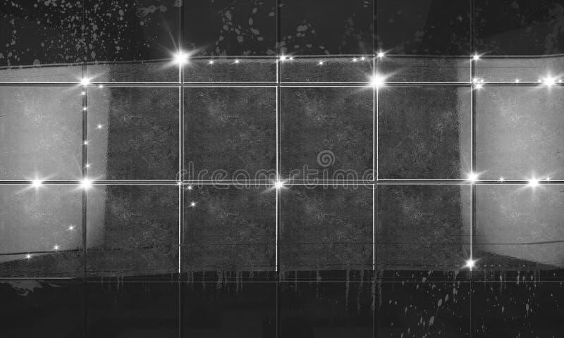 Limpie el fondo negro del cuarto de baño de la pared de la teja ilustración 3D libre illustration