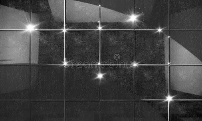 Limpie el fondo negro del cuarto de baño de la pared de la teja ilustración 3D ilustración del vector