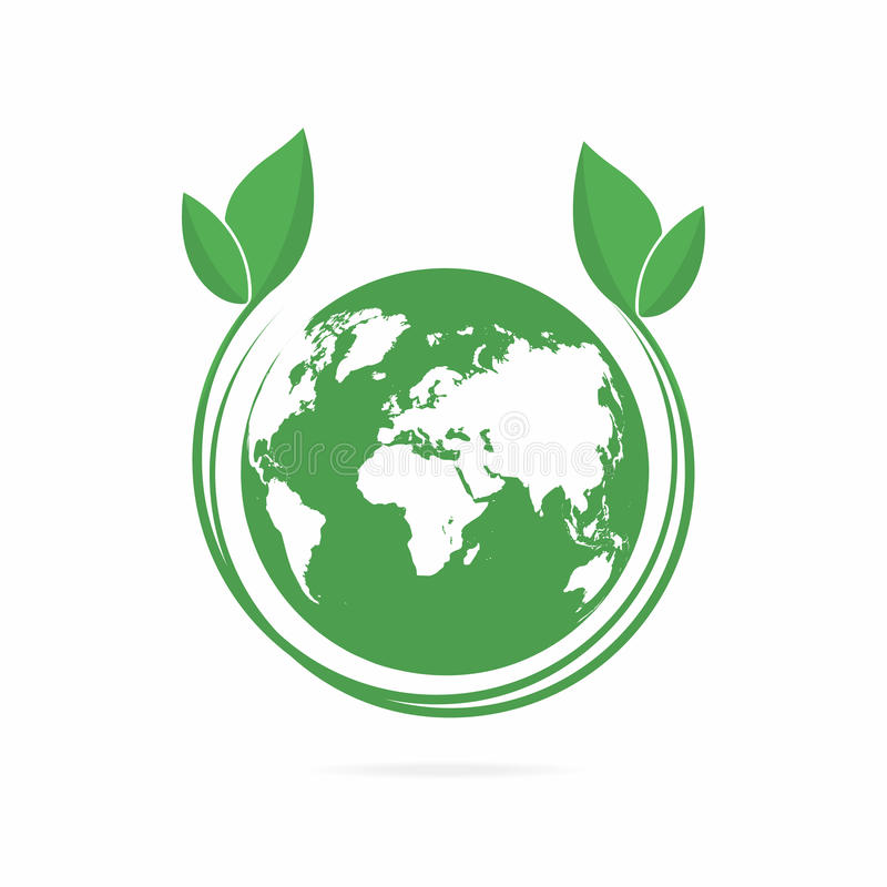 Limpie el mundo verde Símbolo del mundo de Eco, icono Concepto amistoso de Eco para el logotipo de la compañía stock de ilustración
