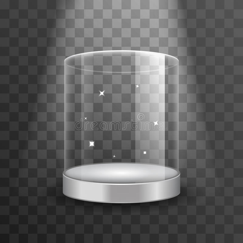 Limpie el podio de cristal del escaparate con el ejemplo del vector del proyector y de las chispas ilustración del vector