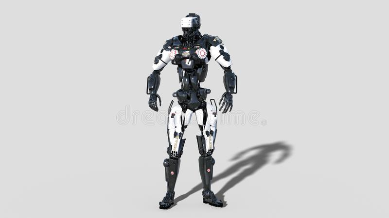 Limpie el robot, cyborg de la aplicación de ley, poli androide aislado en el fondo blanco, 3D rinden stock de ilustración