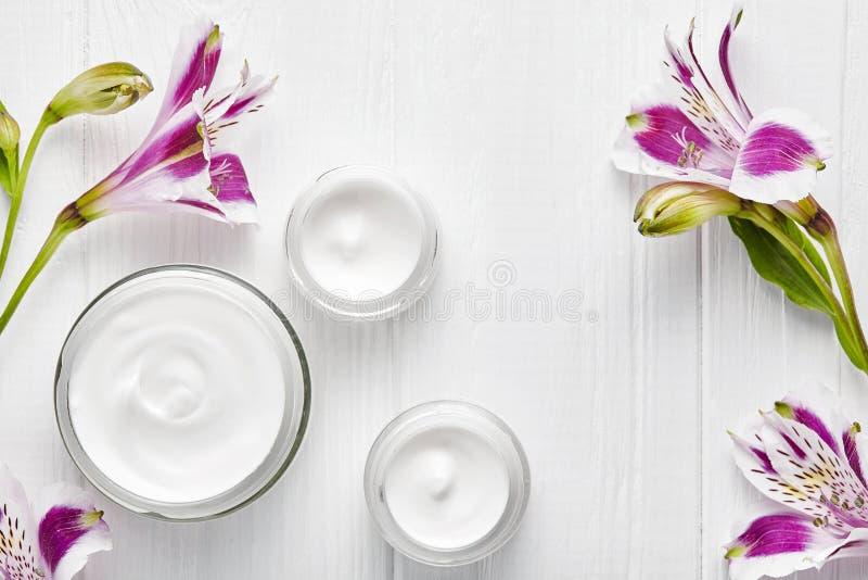 Limpie la cara herbaria orgánica cosmética poner crema, cosmetología natural sana de la loción del tratamiento del hidrato del sk fotos de archivo