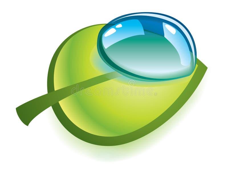 Limpie la gota en la hoja verde stock de ilustración