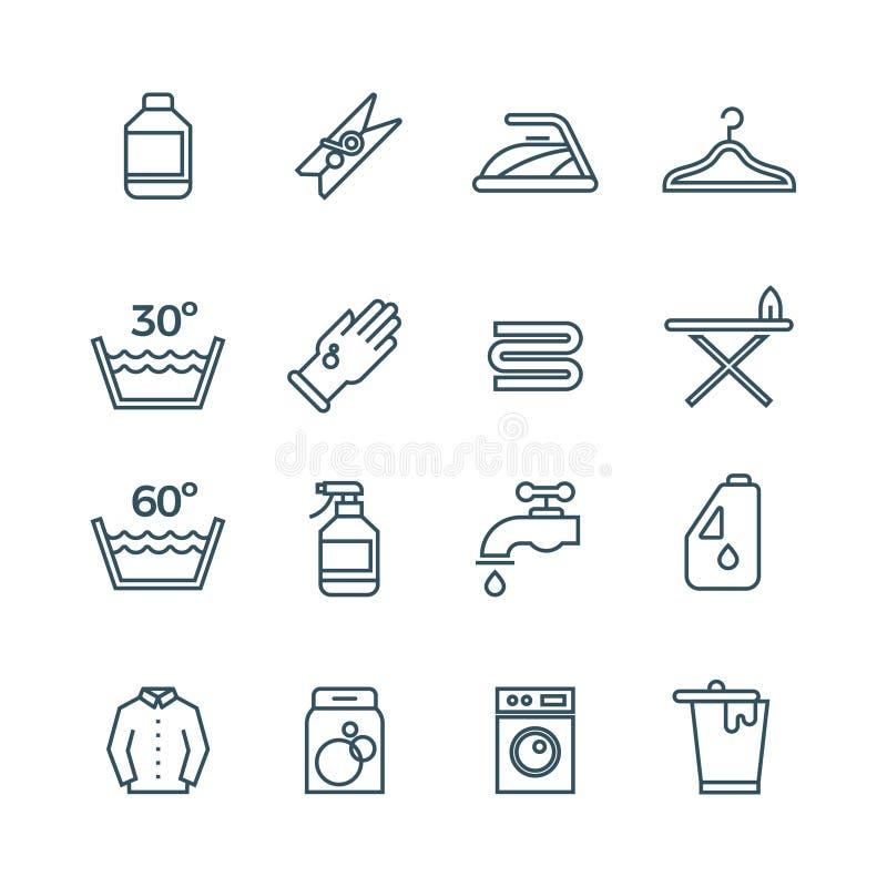 Limpie la línea iconos del vector del servicio del lavadero y del secador stock de ilustración