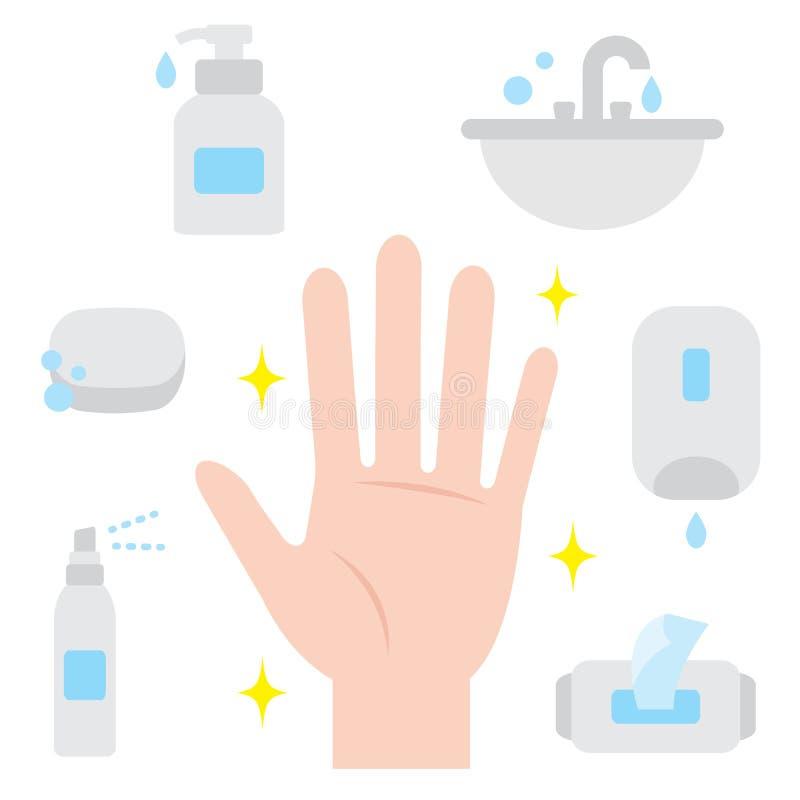Limpie la mano Higiene de la mano ilustración del vector