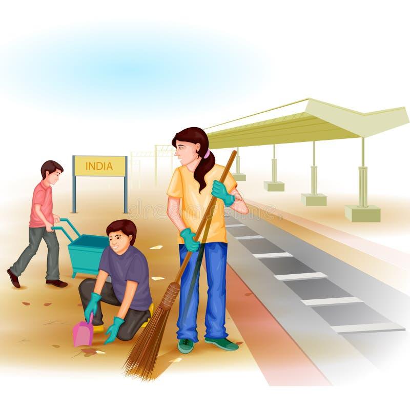 Limpie la misión de la India stock de ilustración