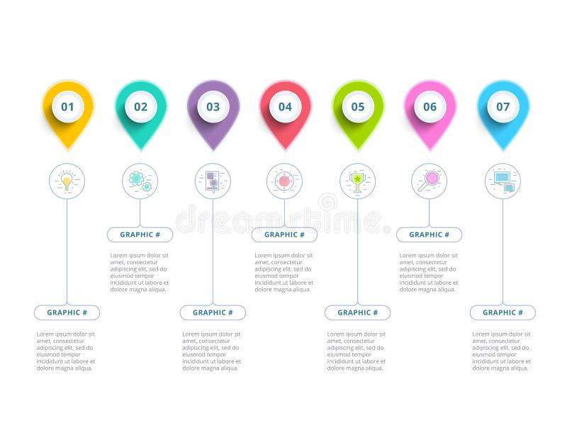 Limpie los wi minimalistic del infographics de la carta de proceso del paso del negocio 5 ilustración del vector