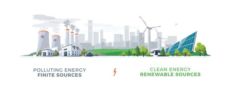 Limpie y las centrales eléctricas de la contaminación stock de ilustración